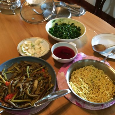 14 Dec Lunch: Yesterday's left over salad, noodles with garlic, thyme, anise seeds. Slow cooked veggies with garam masala.