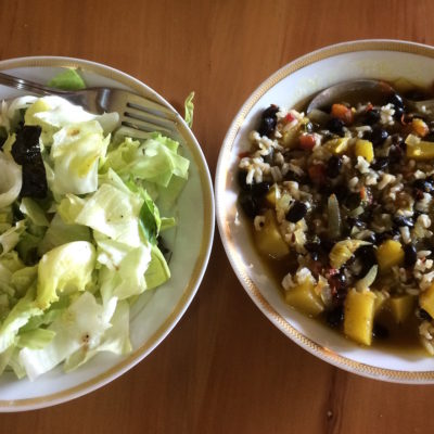 26 Dec Lunch - Salad of lettuce, basil leaves, olives, olive oil, salt and pepper. Breakfast was boiled plantain with onions. Dinner was Roti with same curry.